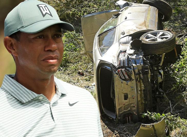 Tiger Woods - car crashed - overturned
