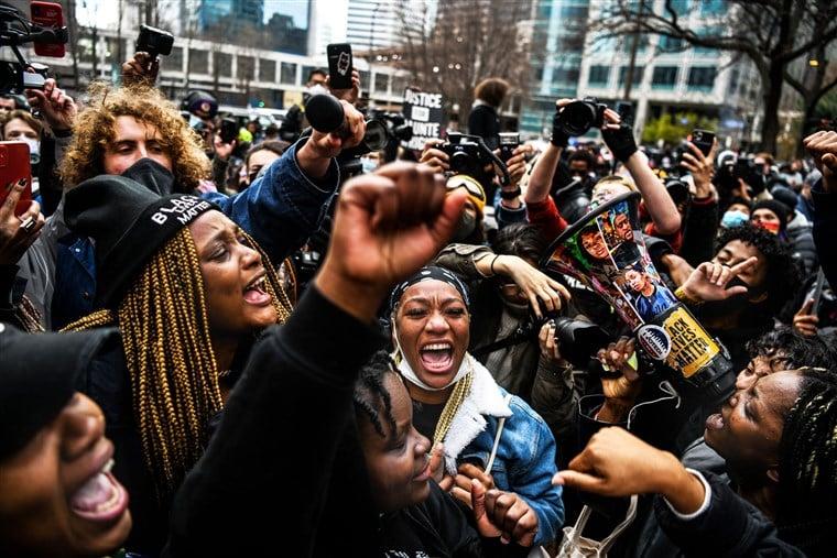 Derek Chauvin Guilty verdict - Crowd - NBC News