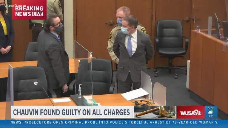 Derek Chauvin found guilty handcuffed - screenshot