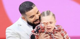 Drake and son Adonis at the BBMAs, May 23, 2021 (Christopher Polk/NBC/NBCU Photo Bank via Getty Images)