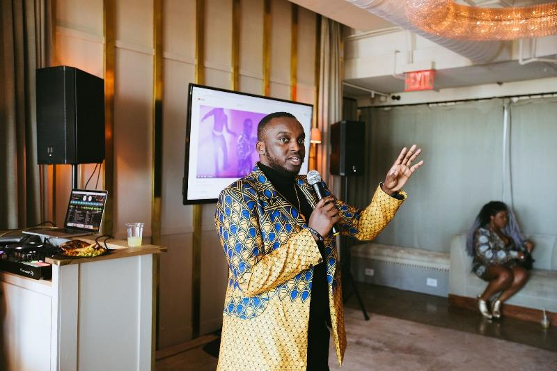 Amplify Africa - CEO and Co-Founder Dami Kujembola giving a welcome address