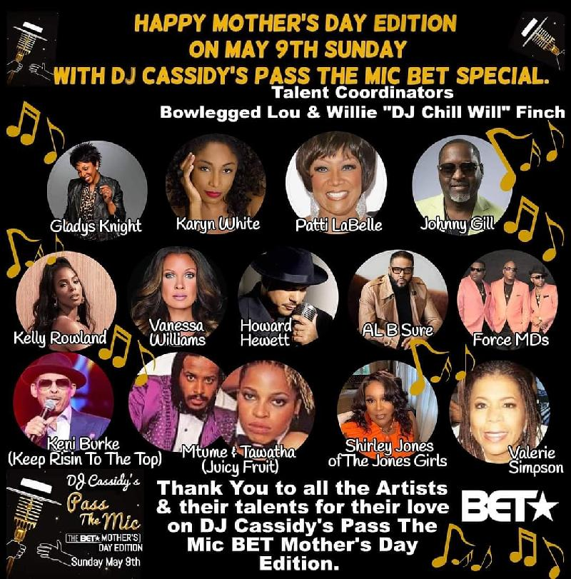 DJ Cassidy - Mother's Day - Talent Lineup