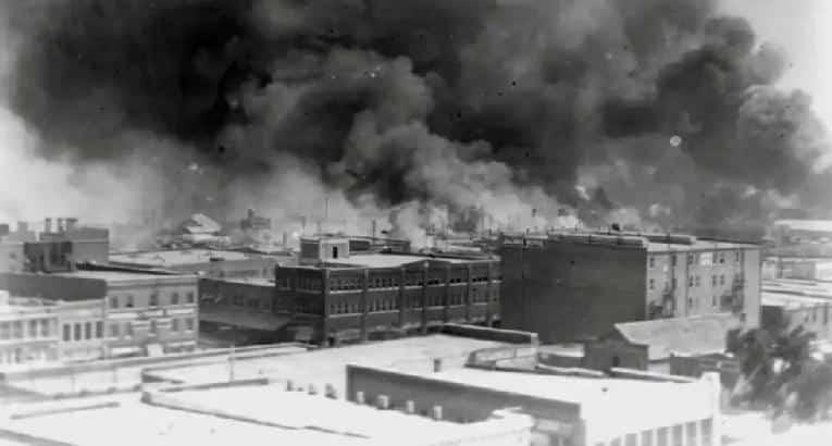 Tulsa Race Massacre - smoke rising from bombing