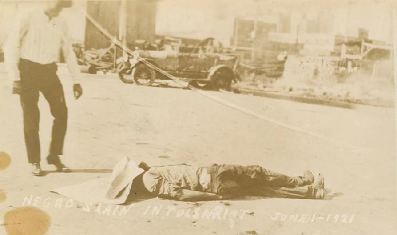 Tulsa Race Massacre survivor - male negro slain laying in street