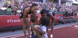 Super Mommies At Track And Field Trials: Allyson Felix and Quanera Hayes