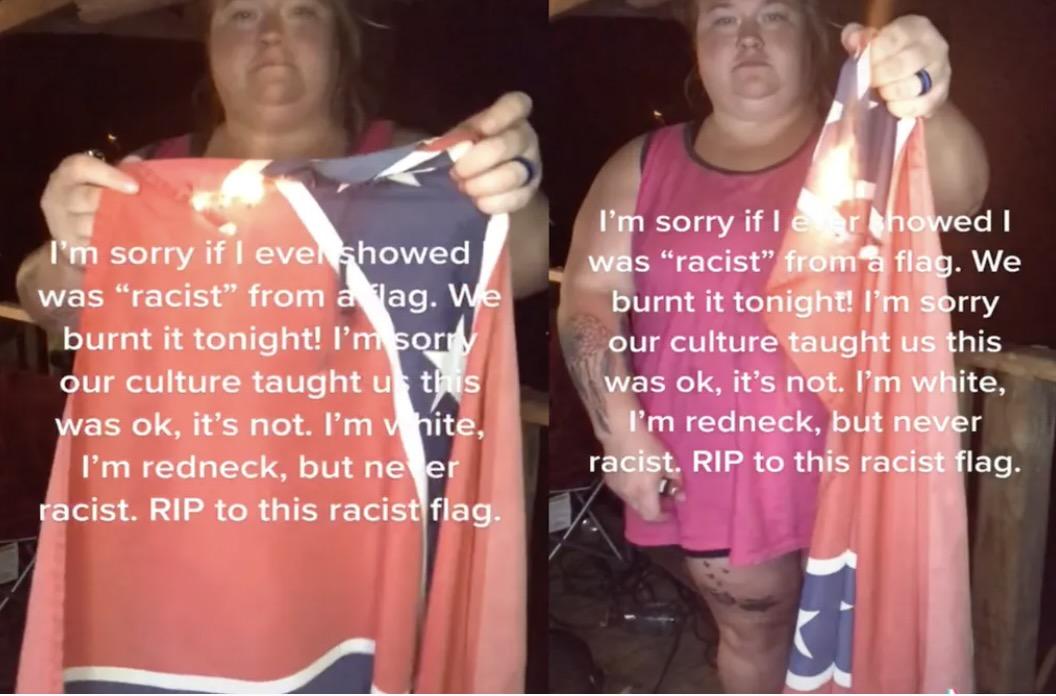 woman burns confederate flag