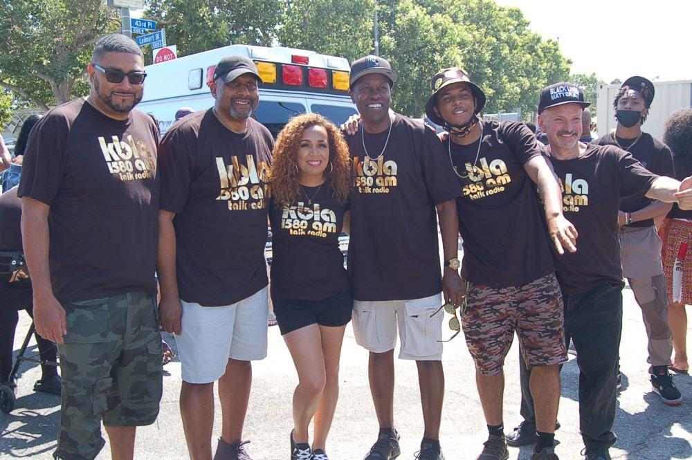 Don Amiche, Tavis Smiley and Dominique DiPrima, KBLA Radio Staff