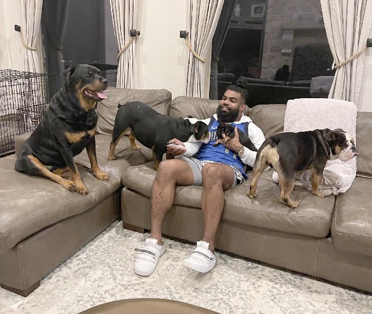 Ezekiel Elliott & his dogs (Twitter)