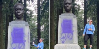 white woman vandalizes York bust in Portland