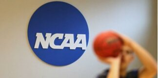 NCAA logo ( & someone shooting ball)