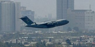 Air Force C-17 leaving Kabul Airport (08-30-21)