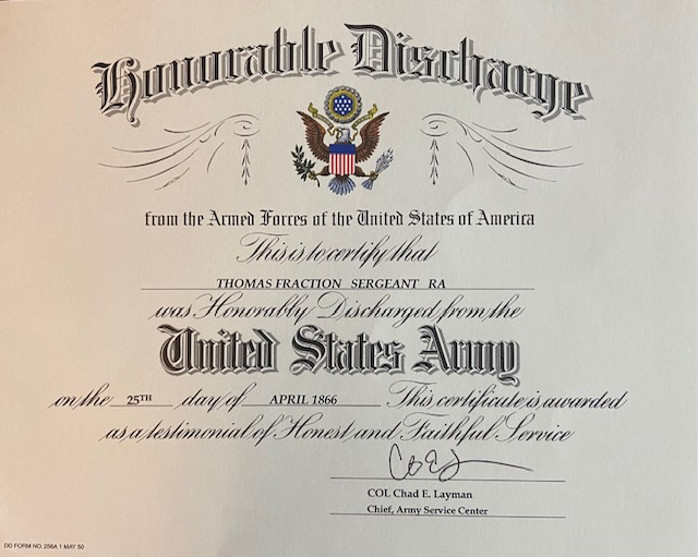 U.S. Army Provides Sergeant Thomas Fraction With Certificate of Honorable Discharge After 155 Years