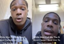 White Man Calls Black Man N-Word for Beating Him to a Bathroom Stall (Watch)